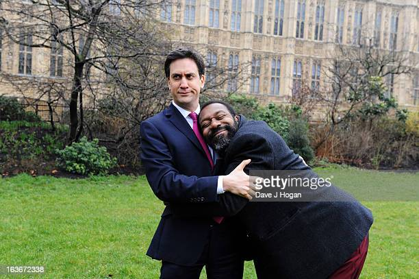 Comic Relief legend Lenny Henry hugs the Leader of the Labour Party Ed Miliband in a short clip that will be shown tonight on 'Comic Relief Funny for...
