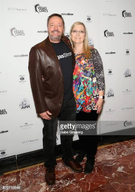 Comic ventriloquist and impressionist Terry Fator and his wife Angie Fator attend the Vegas Cares benefit at The Venetian Las Vegas honoring victims...