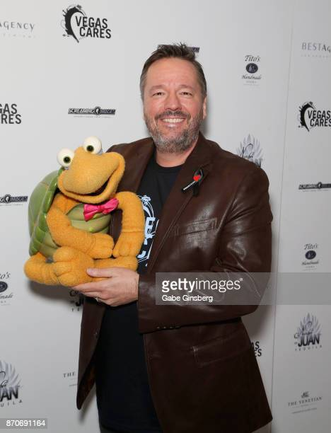 Comic ventriloquist and impressionist Terry Fator and Winston the Impersonating Turtle attend the Vegas Cares benefit at The Venetian Las Vegas...