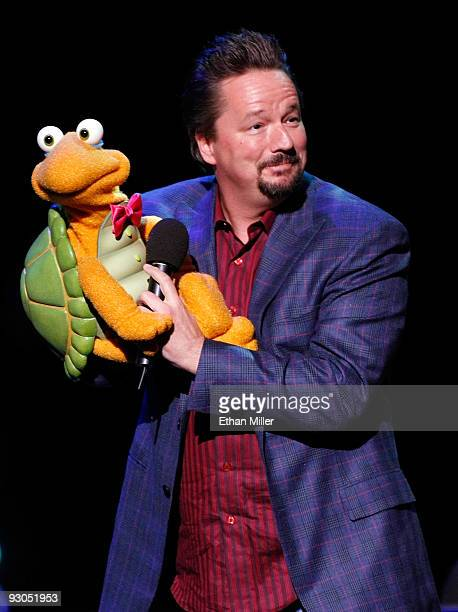 Comic ventriloquist and impressionist Terry Fator appears onstage during the grand opening of comedian/impressionist Frank Caliendo's show 'The New...