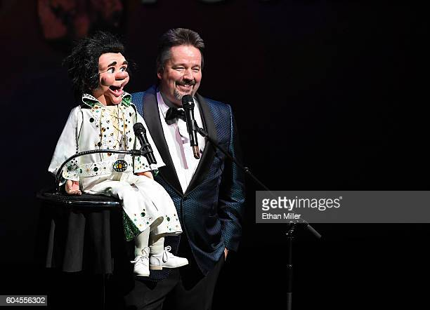 Comic ventriloquist and impressionist Terry Fator performs during Criss Angel's HELP charity event at the Luxor Hotel and Casino benefiting pediatric...