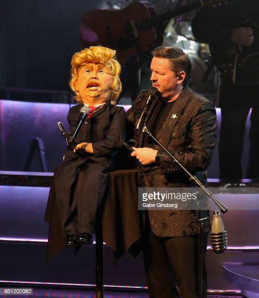Comic ventriloquist and impressionist Terry Fator performs with his President Donald Trump puppet during his show at The Mirage Hotel Casino on March...