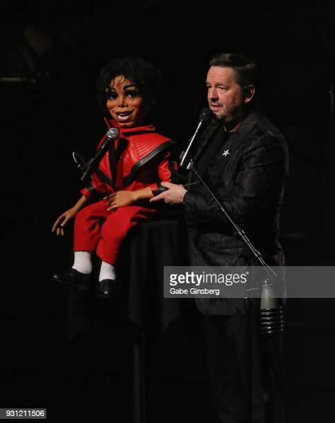 Comic ventriloquist and impressionist Terry Fator performs with his new Michael Jackson puppet during his show at The Mirage Hotel Casino on March 12...