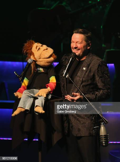 Comic ventriloquist and impressionist Terry Fator performs with his Duggie Scott Walker puppet during his show at The Mirage Hotel Casino on March 12...