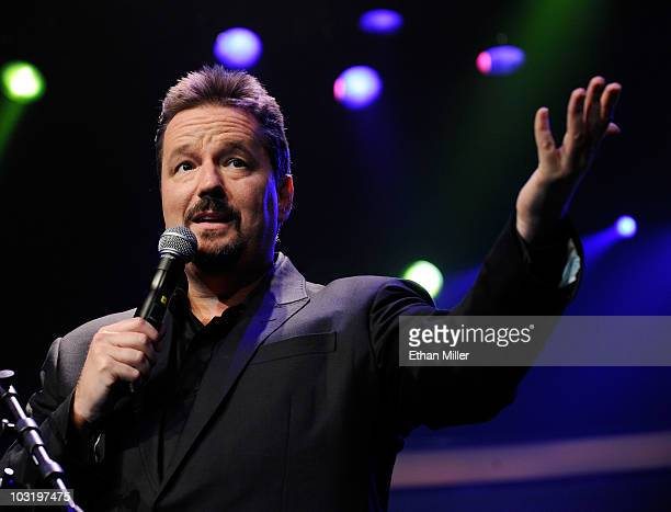 Comic ventriloquist and impressionist Terry Fator speaks during a special performance of 'Terry Fator Ventriloquism in Concert' to benefit The Public...