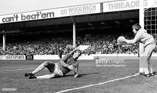 A comical moment as Everton goalkeeper George Wood asks the ball boy to return the ball to him during their First Divison match against Aston Villa...