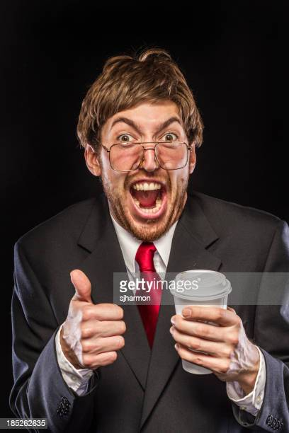 Comical Nerdy Businessman on Black Background, Thumbs Up