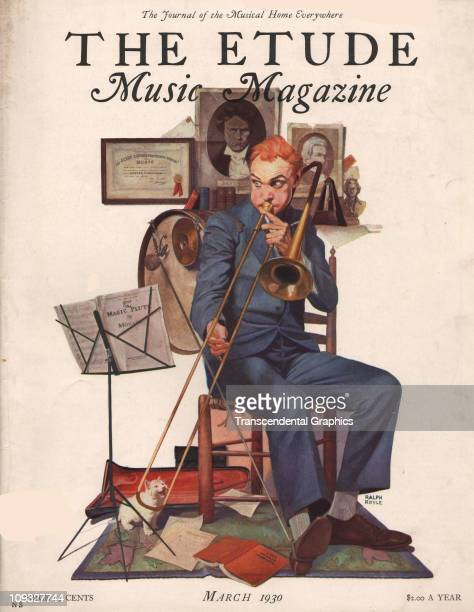 NEW YORK MARCH A comical trombone practicing scene is on the cover of Etude magazine from New York the March 1930 issue