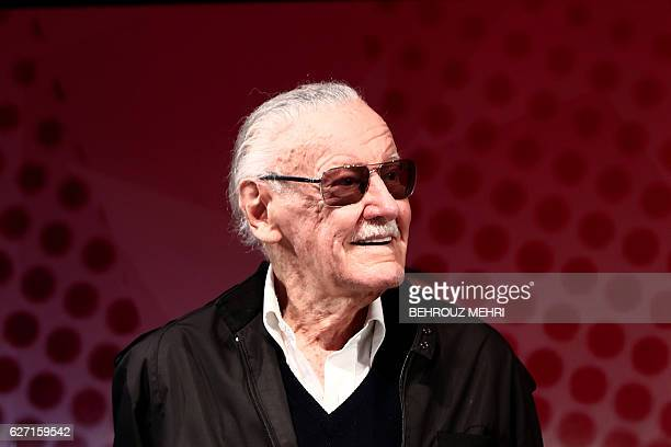 US comicbook writer Stan Lee attends a talk show during the Tokyo Comic Con in Chiba a suburb of Tokyo on December 2 2016 / AFP / Behrouz MEHRI