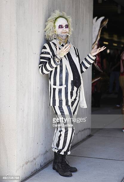 ComicCon attendee poses as Beetlejuice during New York ComicCon 2015 at The Jacob K Javits Convention Center on October 10 2015 in New York City