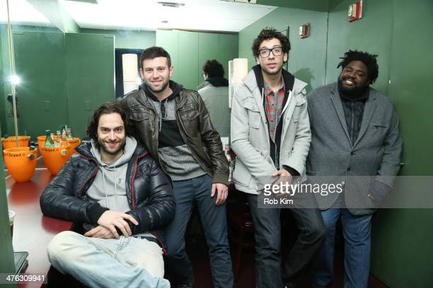 Comics Chris D'Elia Brent Morin Rick Glassman and Ron Funches backstage in green room at The Undateable Tour opening night at Caroline's On Broadway...