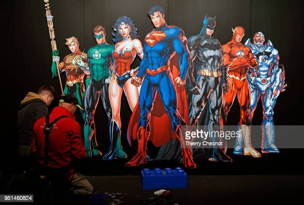 Batman Superman Wonder Woman The Joker is displayed during the press preview of the exhibition The Art of the Brick DC Super Heroesat Parc de la...