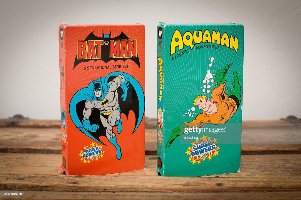 DC Comics VHS Movie Tapes featuring Batman and Aquaman : Stock Photo
