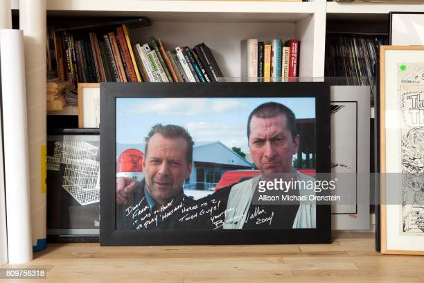 Comics writer Frank Miller's office is photographed for The Hollywood Reporter on February 23 2016 in New York City Photograph of Miller with Bruce...