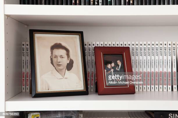 Comics writer Frank Miller's office is photographed for The Hollywood Reporter on February 23 2016 in New York City A photographed of Miller's mother...