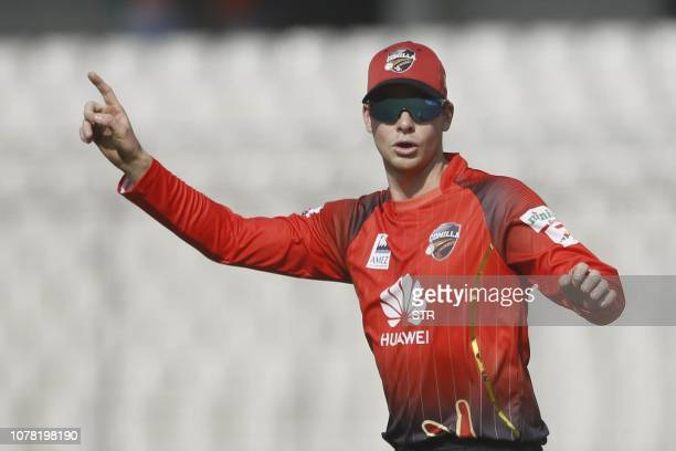 Comilla Victorians captain Steven Smith gestures during a match between Comilla Victorians and Sylhet Sixers at the ShereBangla National Cricket...