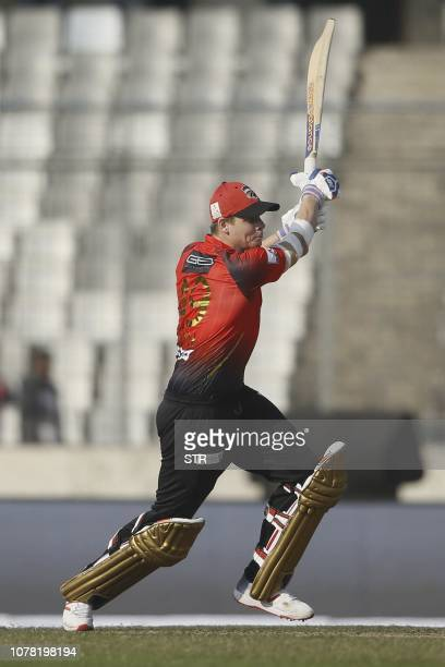 Comilla Victorians Steven Smith plays a shot during a match between Comilla Victorians and Sylhet Sixers at the ShereBangla National Cricket Stadium...