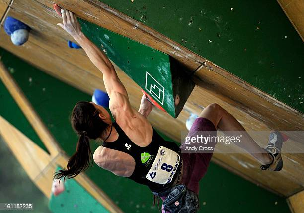 Mina Markovic, from Slovakia, negotiates a climbing wall during the IFSC Bouldering World Cup semi-finals at the 10th annual Teva Mountain Games in...