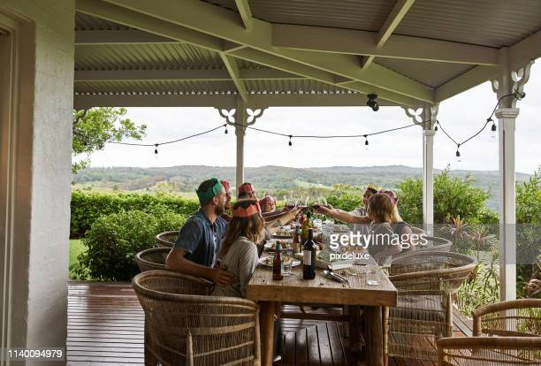 coming together with good food and wine - australia stock pictures, royalty-free photos & images