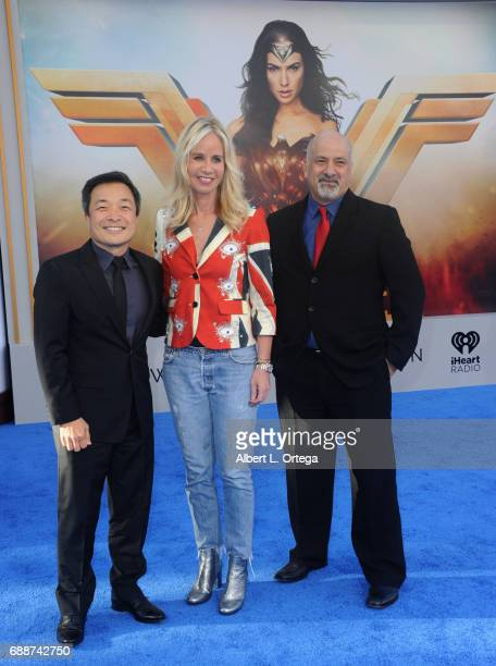Comis Publisher Jim Lee president Diane Nelson of DC Entertainment an copublisher Dan Didio arrives for the Premiere Of Warner Bros Pictures' 'Wonder...