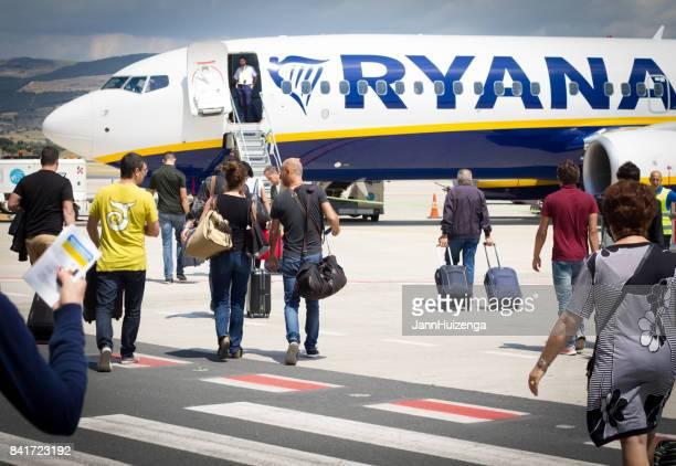 Comiso, Sicily, Italy: Passengers Boarding Ryanair on Tarmac