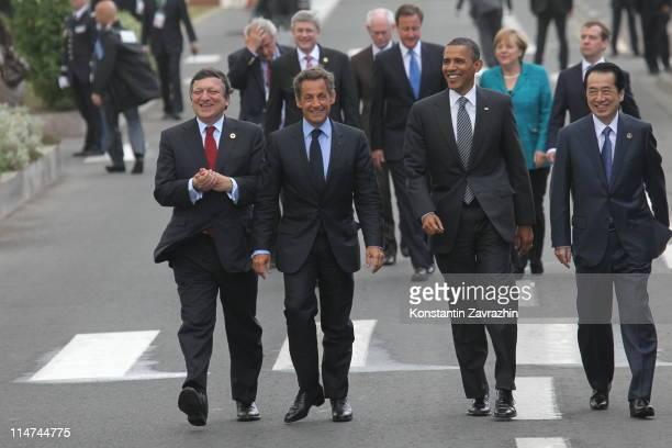 EU Comission President Jose Manuel Baroso French President Nicolas Sarkozy US President Barack Obama and Japanese Prime Minister Naoto Kan are seen...