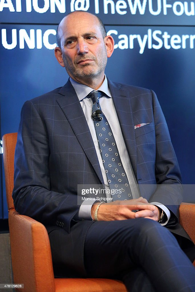 Comissioner of Major League Soccer and CEO of Soccer United Marketing, Don Garber, speaks at the Beyond Soccer Series Powered By streetfootballworld at Thomson Reuters Building on June 22, 2015 in New York City.