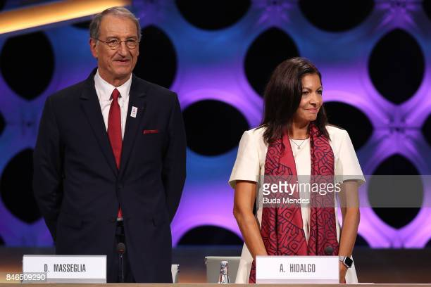 ComitŽ National Olympique et Sportif Franais President Denis Masseglia and Paris Mayor Anne Hidalgo look on during the 131th IOC Session 2024 2028...