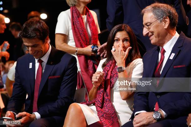 ComitŽ National Olympique et Sportif Franais President Denis Masseglia and Paris Mayor Anne Hidalgo chat during the 131th IOC Session 2024 2028...
