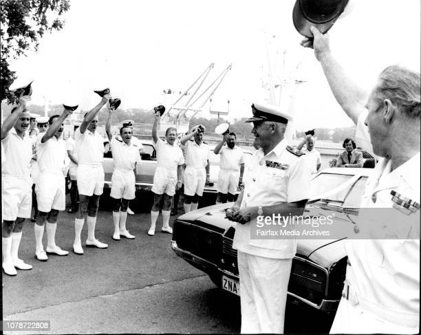 Commadore JLW Merson leads a farewell hooray for Rear Admiral WA Dovers with officers at Naval HeadquartersRear Admiral WA Dovers flag Officer...