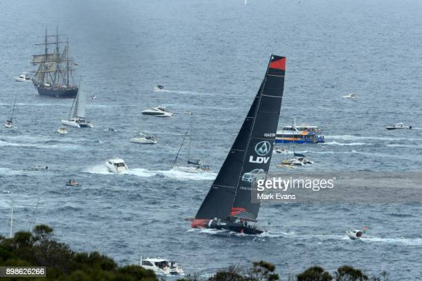 Commanche sails out of the heads during the 2017 Sydney to Hobart on December 26 2017 in Sydney Australia