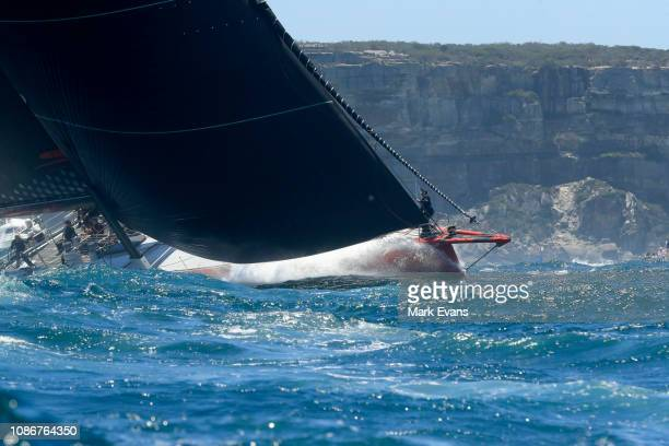 Commanche sails out of the Sydney Heads during the start of the Sydney to Hobart Yacht race on December 26 2018 in Sydney Australia