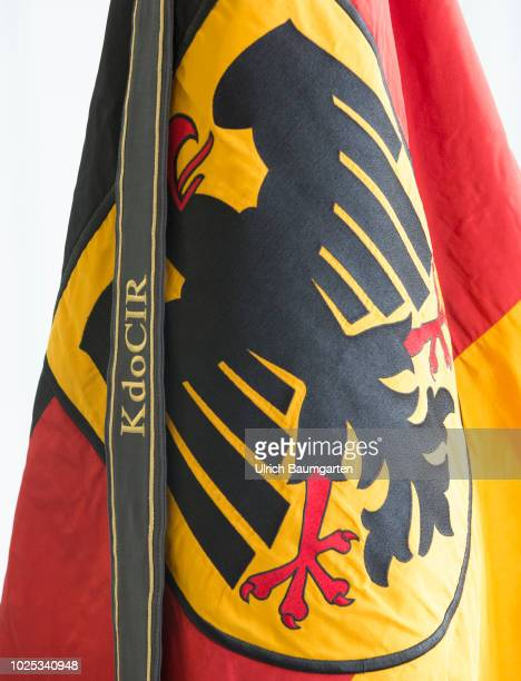 Command Cyber and Informationroom of the Bundeswehr in Bonn The federal flag with the flag band of the CIR