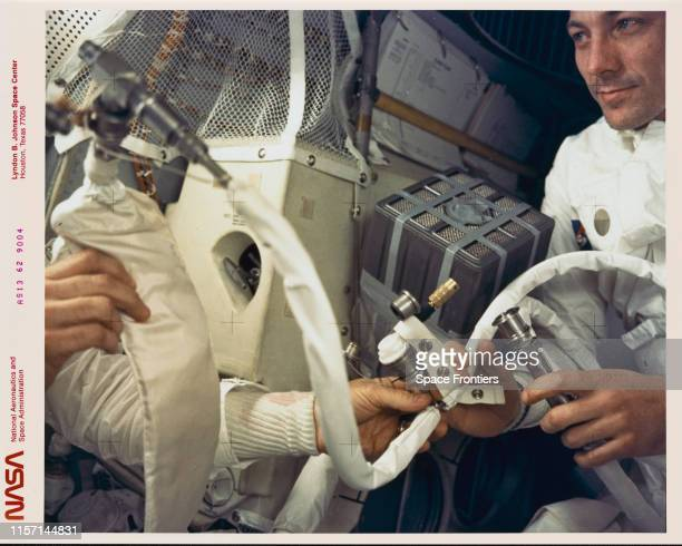 Command Module Pilot John L Swigert Jr pictured in the Apollo 13 Lunar Module during the mission's aborted lunar landing mission April 1970 An...