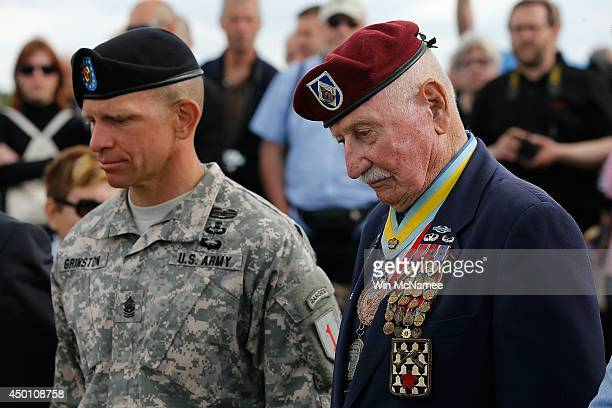 Command Sgt Major Retired Bill Ryan who landed at Omaha Beach 70 years ago tomorrow with current Division Sgt Major Michael Grinston during a moment...