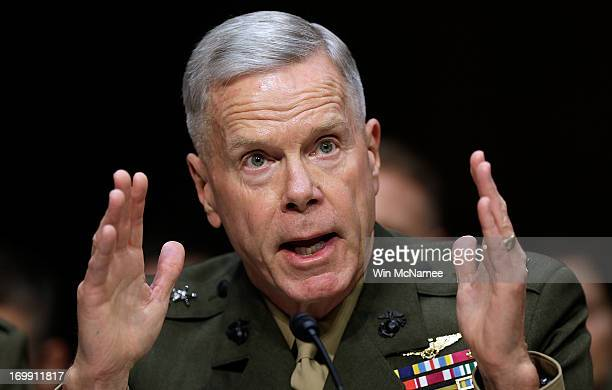Commandant of the Marine Corps Gen James Amos testifies with US military leaders before the Senate Armed Services Committee on pending legislation...