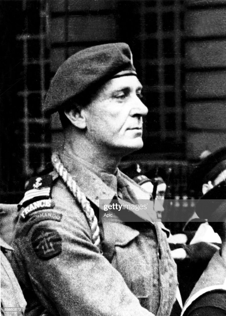 Commandant Philippe Kieffer (1899-1962), french officer who joined the Free French naval Forces in june 1940, he led the 1st marine commandos bataillion during the Normandy Landings in june 1944 : News Photo