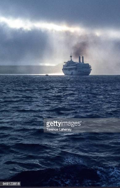 Commandeered liner SS Canberra off the shore of Port Stanley during the Falklands War 1982