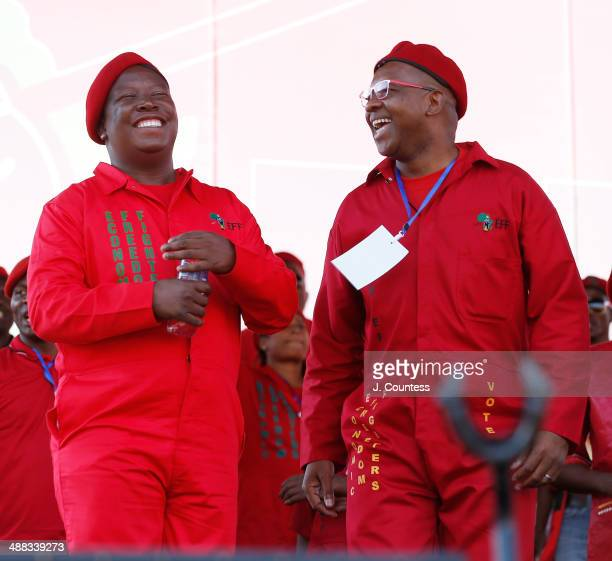 Commander and chief of the Economic Freedom Fighters and South African presidential candidate Julius Malema and Peoples Advocate Dali Mpofu attend an...