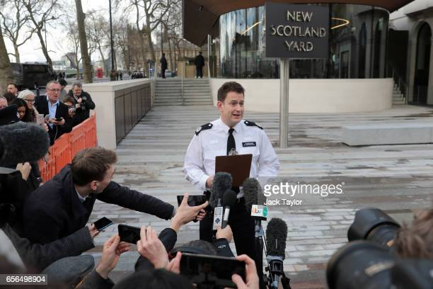 Commander BJ Harrington of the Metropolitan Police makes a statement outside of New Scotland Yard on March 22 2017 in London England A police officer...