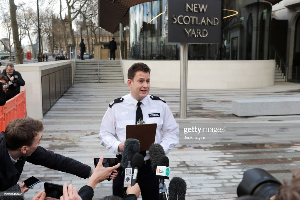 Commander BJ Harrington of the Metropolitan Police makes a statement outside of New Scotland Yard on March 22, 2017 in London, England. A police officer has been stabbed near to the British Parliament and the alleged assailant shot by armed police. Scotland Yard report they have been called to an incident on Westminster Bridge where several people have been injured by a car.