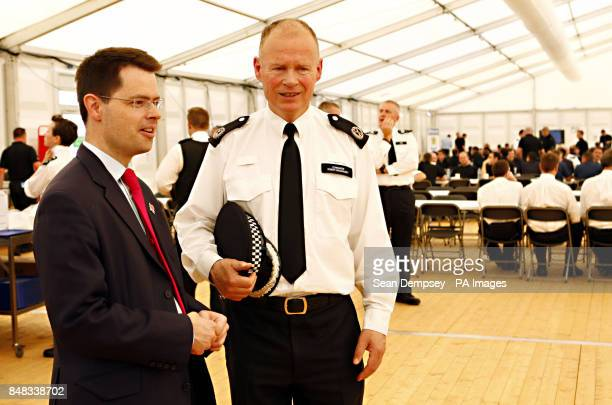 Commander Bob Broadhurst with Security Minister Police James Brokenshire at the Battersea Muster Briefing and Deployment Centre at Battersea Power...