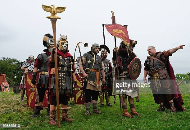A commander briefs his men ahead of a performance as the lives of Roman Legionnaires are reenacted during the Hadrian's Wall Live event at Birdoswald...
