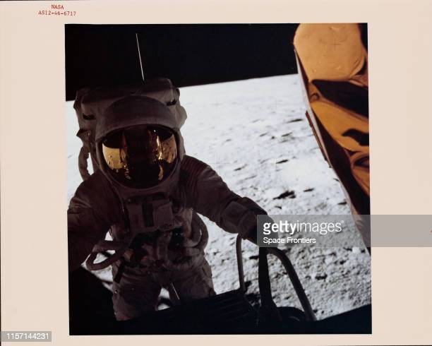 Commander Charles 'Pete' Conrad Jr starts down the ladder onto the surface of the Moon for EVA1 during NASA's Apollo 12 lunar landing mission 19th...