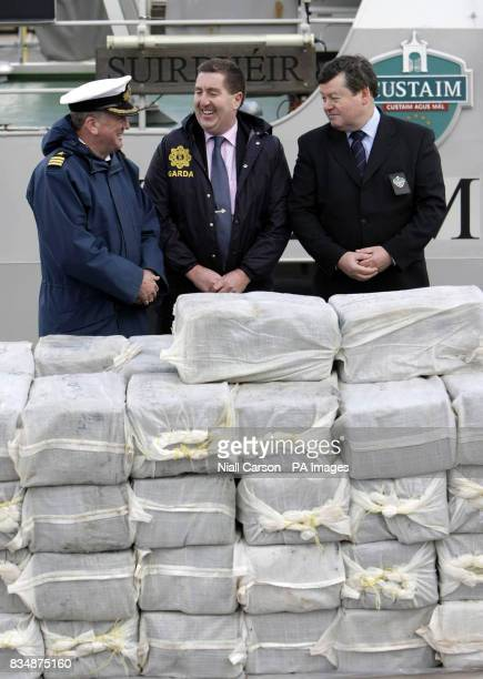 Commander Eugene Ryan from the Irish Naval Service Superintendent Pat Byrne from the Garda Nation Drugs Unit and Brian Smyth from Irish Customs with...