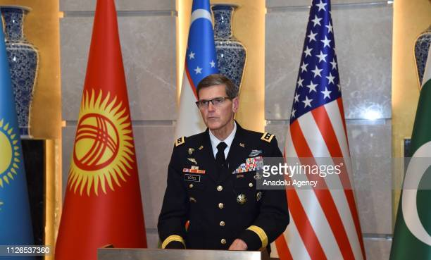 Commander General Joseph Votel makes a speech during a meeting on Security and Stability in Central Asia in Tashkent Uzbekistan on February 21 2019