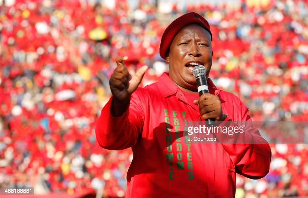 Commander in Chief of the Economic Freedom Fighters and South African presidential candidate Julius Malema addresses supporters at an Economic...