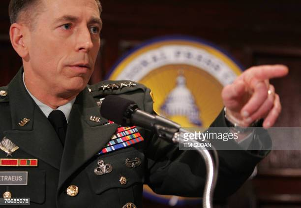 US Commander in Iraq General David Petraeus answers a question during a press conference after spending two days testifying before Congress on the...