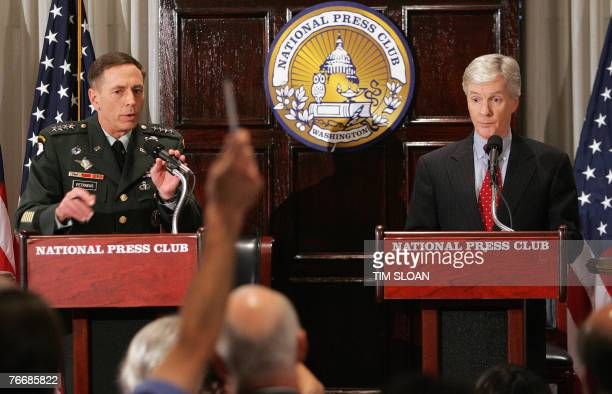 US Commander in Iraq General David Petraeus with US Ambassador to Iraq Ryan Crocker hold a press conference after spending two days testifying before...