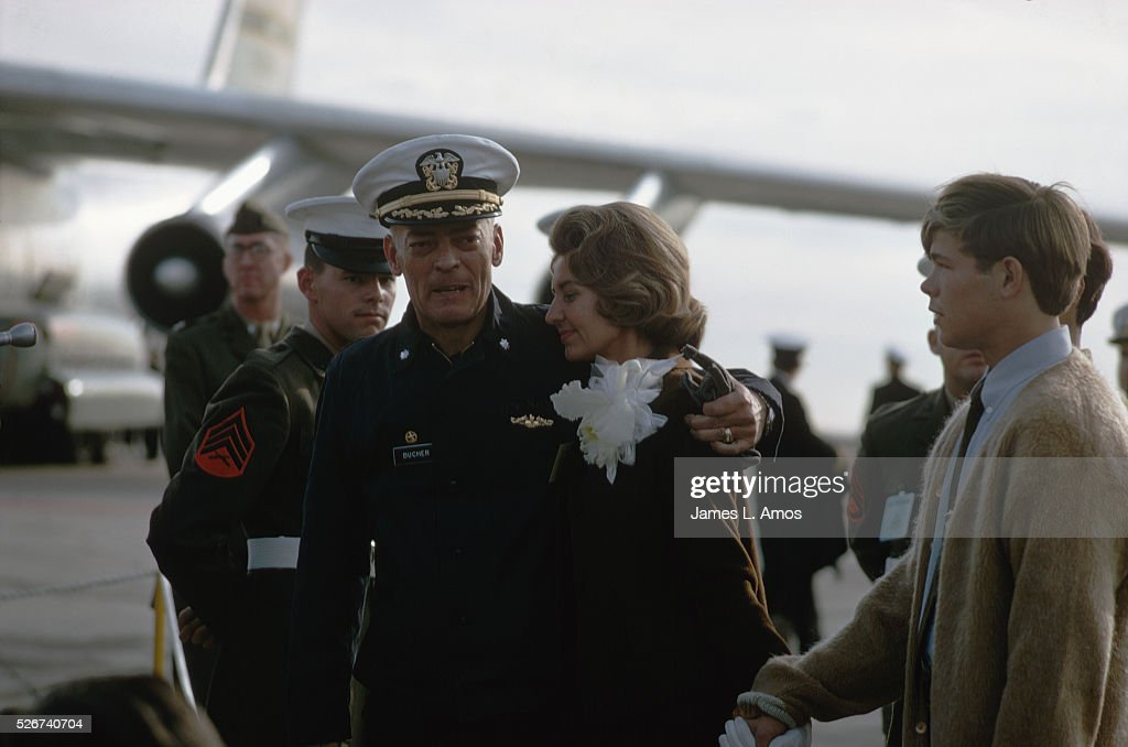 Commander Lloyd Bucher is greeted by his wife, Cindy, upon returning from captivity in North Korea. He and his crew aboard the USS Pueblo were captured in January 1968.